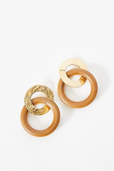 Luiny Wood Ring Earrings - Walnut