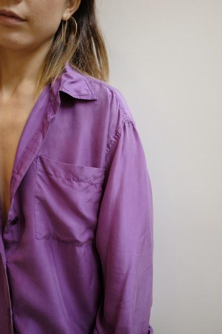 Hey Jude Vintage Violet Brushed Silk Button Up