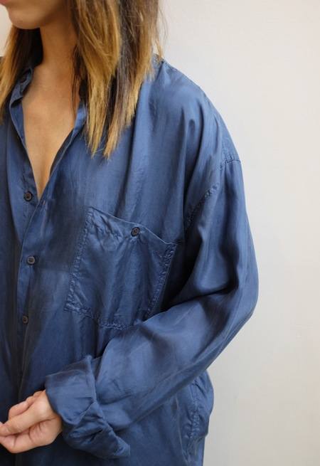 Hey Jude Vintage Cobalt Silk Long Sleeve Blouse