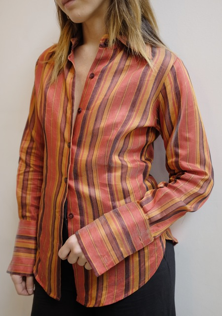 Hey Jude Vintage Fire Striped Linen Blend Long Sleeve