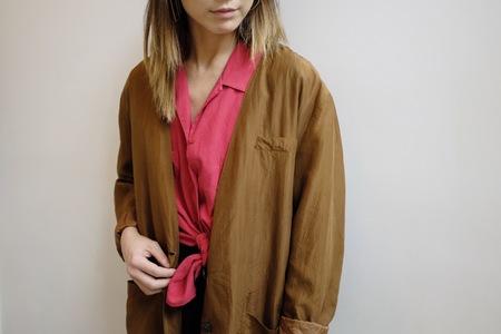 Hey Jude Vintage Tawny Silk Blazer