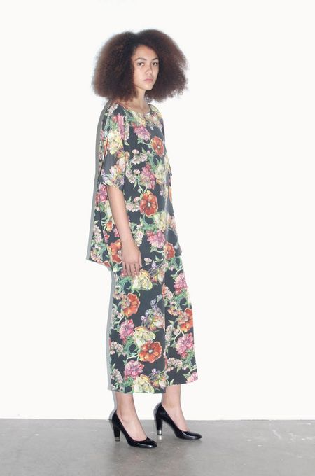 Strathcona Black Watercolour Bouquet Silk Tunic Shirt