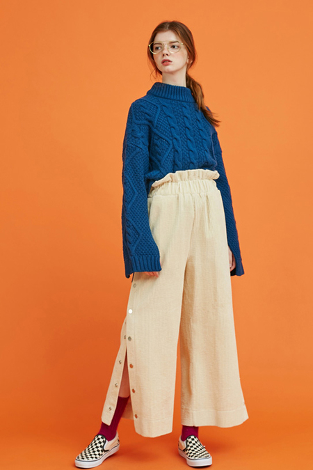 Another. Twisted Slit Knit- Blue