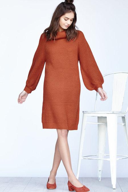 Callahan Shaker Cowl Turtleneck Dress