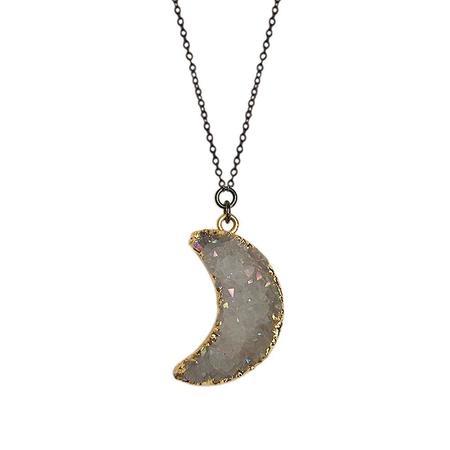 Strut Jewelry Druzy Quartz Moon Necklace