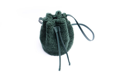 Primecut Green Shearling Bucket Bag