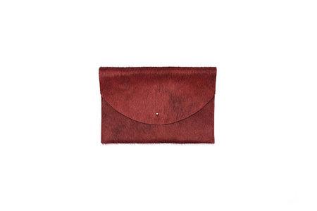 Primecut Rust Cowhide Envelope Clutch