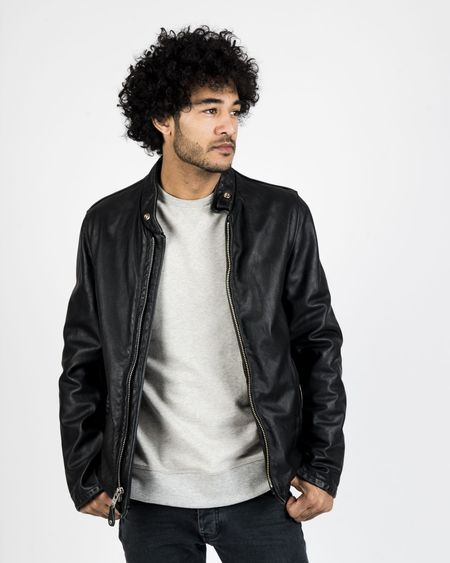 Schott NYC Vintaged Cowhide Café Racer Leather Jacket