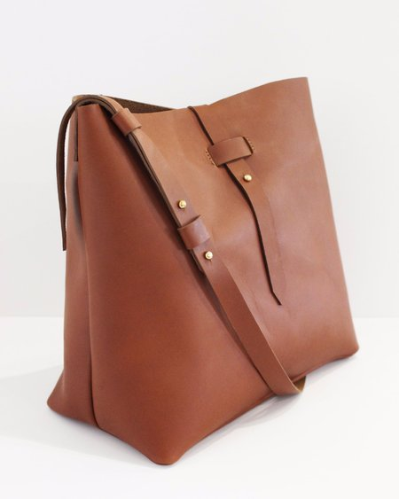 Esby Leather Bucket Tote - Brown Calfskin