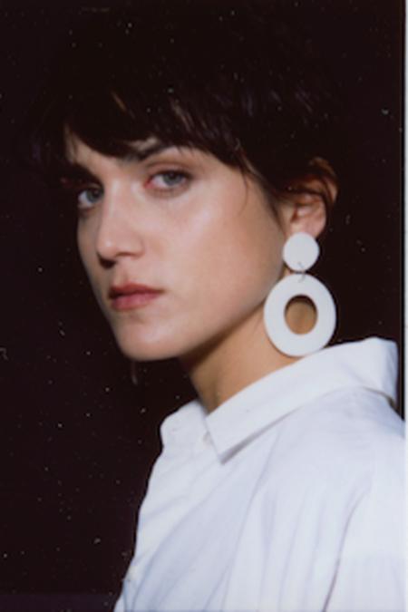 Levens XL Circle Earrings - White