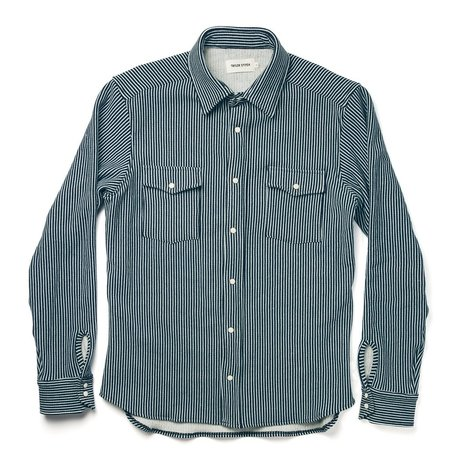 Taylor Stitch The Glacier Shirt in Hickory Stripe French Terry