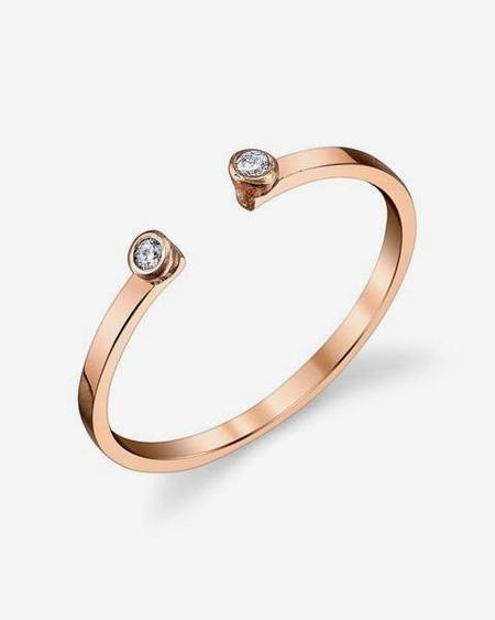 Gabriela Artigas Double White Diamond Ring - Rose Gold