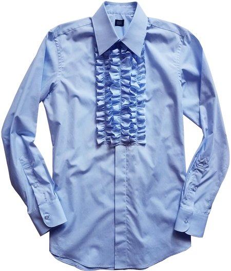 David Hart blue ruffle front tuxedo shirt