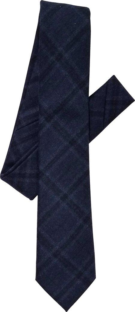 David Hart Marine Blue Flannel Plaid Tie