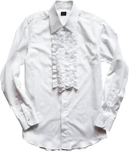 David Hart white ruffle front tuxedo shirt