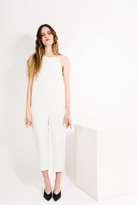 Beth Yard Jumpsuit - White Crepe
