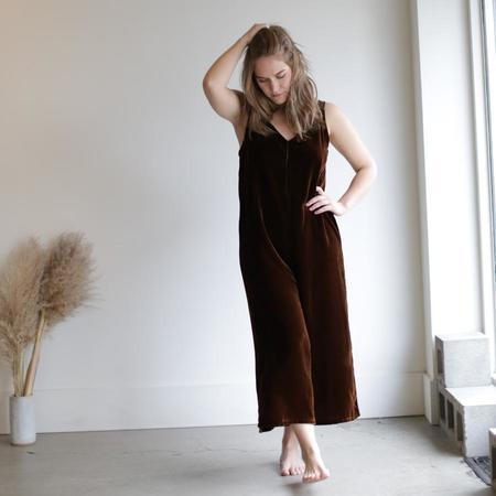 Lacausa Velvet Santi Jumpsuit - Bronze / Tar