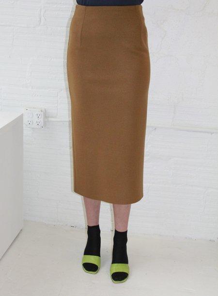 Waltz Wool Jersey Straight Skirt - Camel