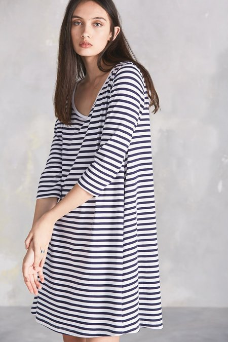 Kowtow Building Block Swing Dress - Blue/White Stripe