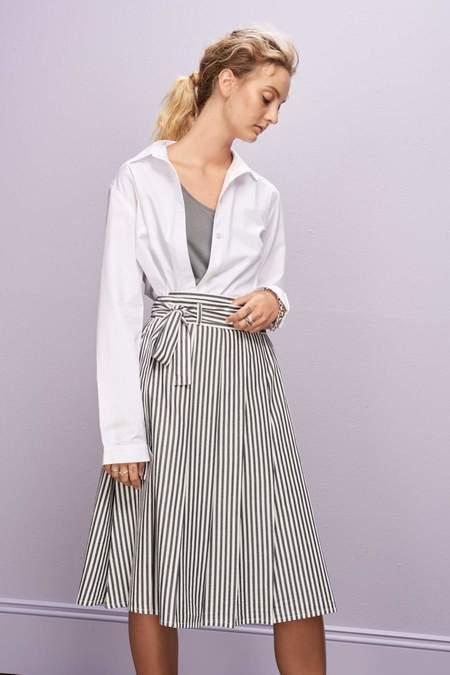 Kowtow Long Player Skirt - Navy White Stripe