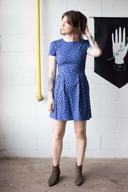 Birds of North America Towhee Dress - Blue Crosshatch