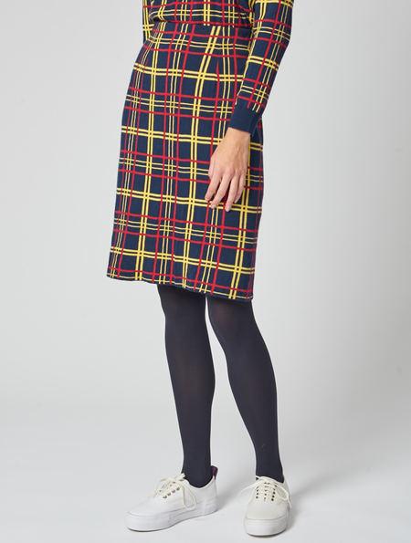 Peter Jensen Knitted Plaid Skirt
