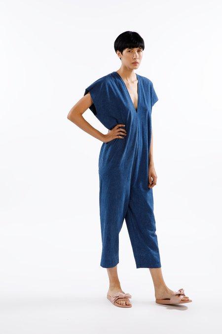 Miranda Bennett Everyday Jumpsuit, Silk Noil in Dark Indigo