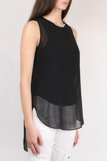 Go Silk Go Double Layer Tails Top - Washed Black