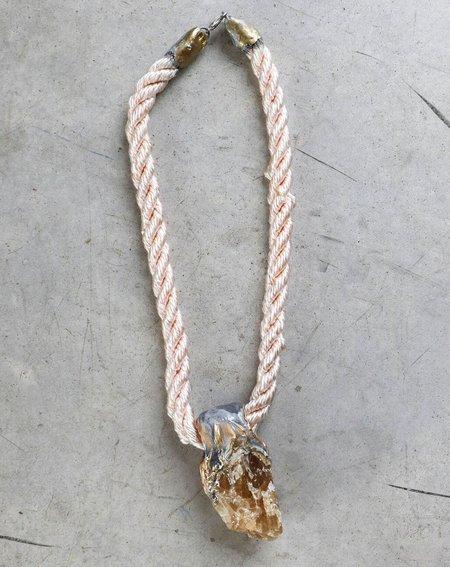 Adina Mills Large Orange Calcite Pendant on Pale Pink Rope
