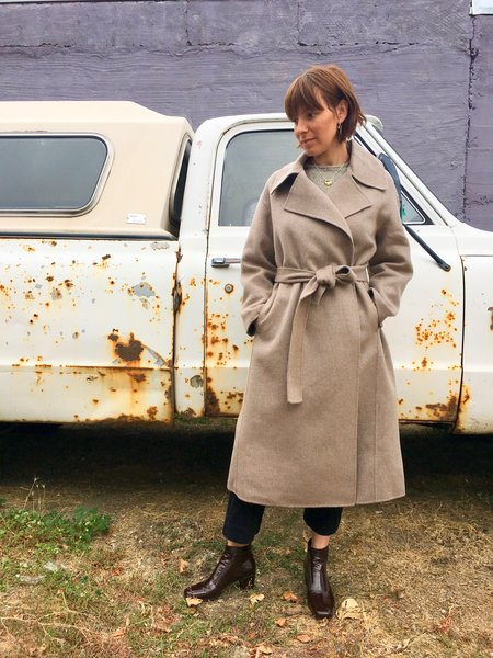 Achro Wool Handmade Coat in Taupe