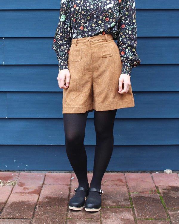 Samantha Pleet Cappuccino Shorts in Tan Corduroy