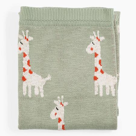 Kids Cotton Knit Throw in Giraffe