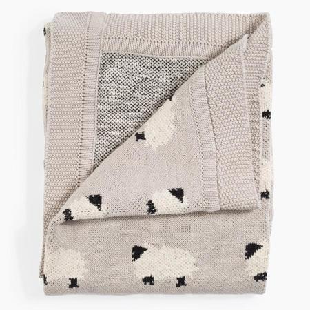 Kids Cotton Knit Throw - Sheep