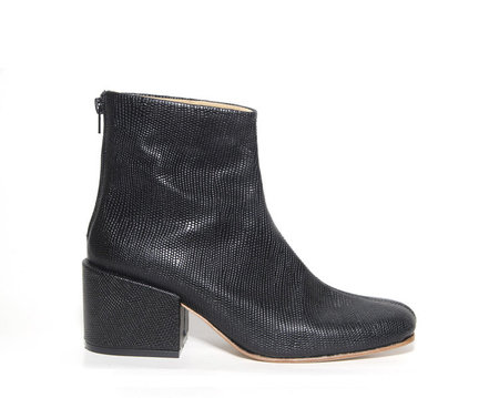 ZOU XOU Beia Boot in Black Embossed Snake Instant Ship