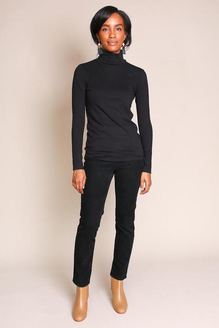 Majestic Cotton/Cashmere Turtleneck in Noir