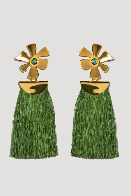 Lizzie Fortunato Daisy Crater Earrings in Green
