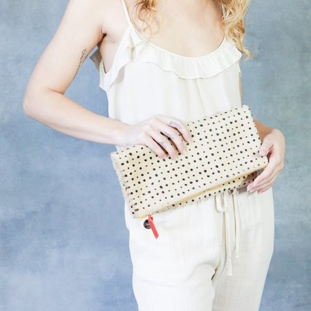 Clare V. Tan Spotted Hair-On Clutch