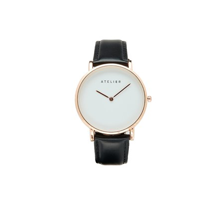 Atelier Canvas Watch - Rose Gold + Black Leather