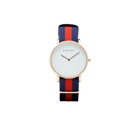 Atelier Canvas Watch - Rose Gold + Navy/Red NATO Strap
