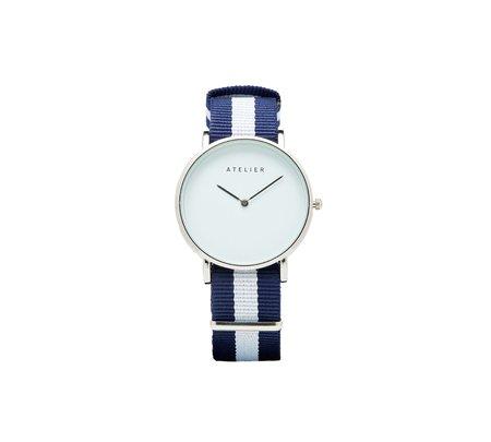 Atelier Canvas Watch - Silver + Navy/White NATO Strap