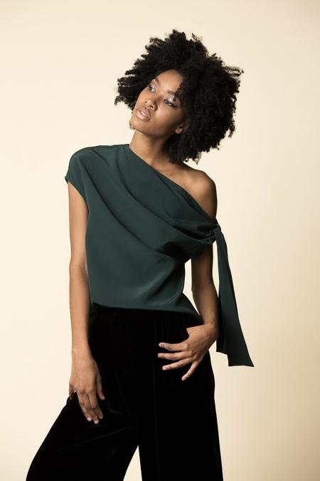 Tibi Silk Asymmetrical Tie Top