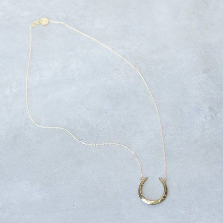 Soko Horseshoe Crescent Pendant Brass Necklace