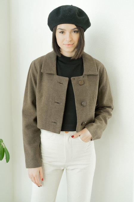 BACKTALK VINTAGE WOOL CROPPED JACKET WITH WOODEN BUTTONS SMALL