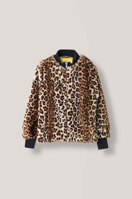 Ganni Ferris Leopart Print Faux Fur Bomber Jacket