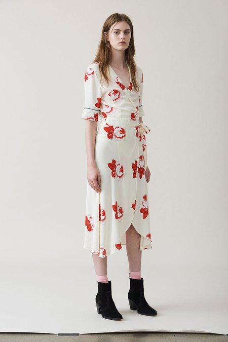 Ganni Harley Crepe Wrap Dress - Floral Print