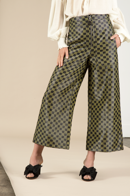 Edun Lurex Check Cropped Wide Leg Pant