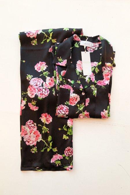 Salua Black Floral Silk Pajama