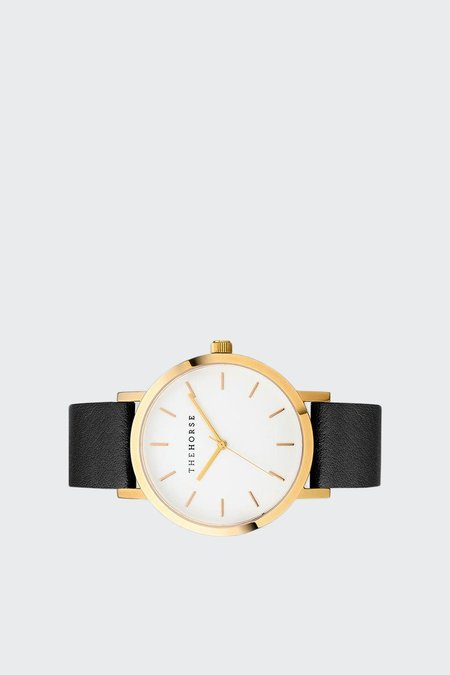 The Horse Original Watch - polished gold/white face/black band