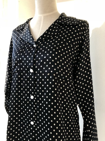 Salua Silk Pajama - Black-White Polka Dots