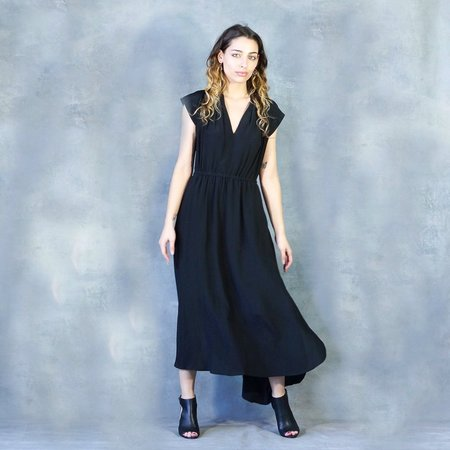 The Podolls Pleatneck Soiree Silk Dress in Black